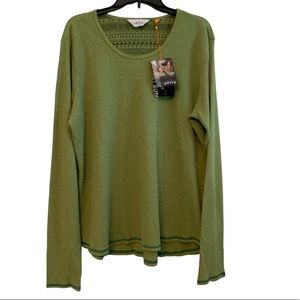 Orvis Trout Bum Green Waffle Knit Long Sleeve Tee XL or XXL